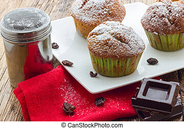 table, bois, muffins