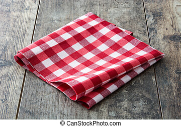 table bois, nappe, checkered, rouges