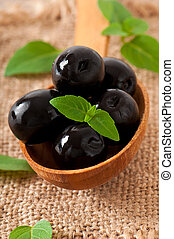 table bois, olives, noir
