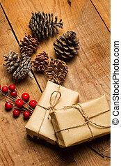 table bois, paquets, noël