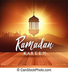 table bois, paysage, ramadan, fond