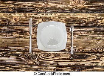table bois, plié, coutellerie, evenly