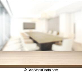 table, bois, salle réunion, fond