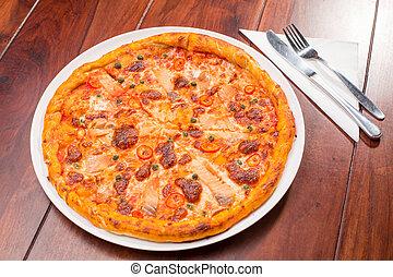 table bois, saumon, pizza