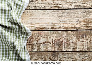table bois, serviette, gris