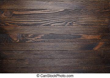 table bois, sommet, fond, vue