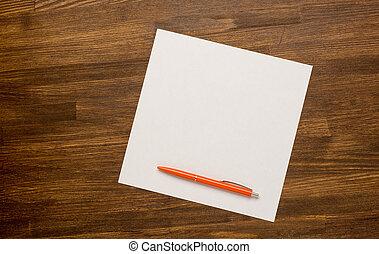 table bois, stylo, papier, vieux