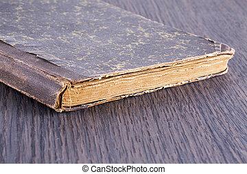 table bois, sur, livre, vieux