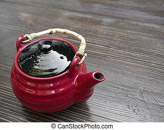table bois, théière, chinois, rouges