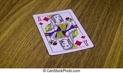 table bois, tourne, jeu carte