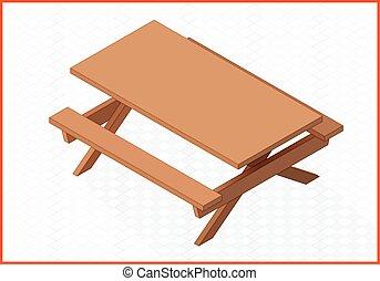 table bois, vecteur, illustration, 3d