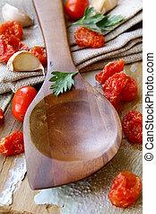 table, bois, vieux, cuisine, cuillère