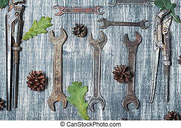 table bois, vieux, outils