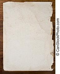table bois, vieux, papiers
