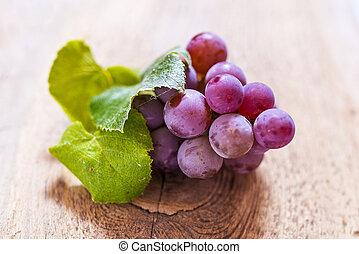 table bois, vieux, raisins