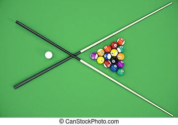 table, boules billard, piscine, jeu, illustration, concept, ...