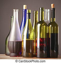 table, bouteille, vin, bois
