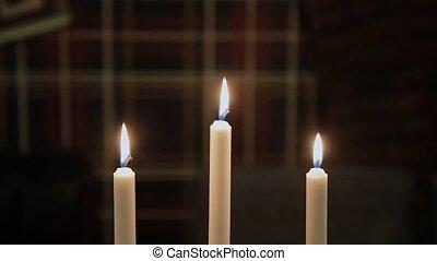 table., brûlé, bougies, crépuscule, beau