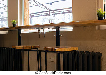 Table by the window in a cafe