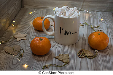 table, café, bois, tasse, biscuits