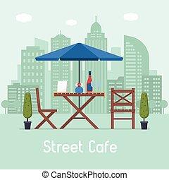 table, café extérieur, sièges