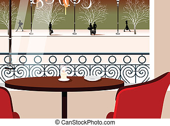 table, cafétéria, deux