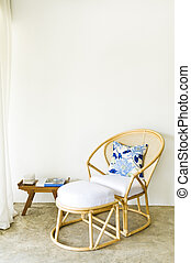 Table chair combination rattan seating area