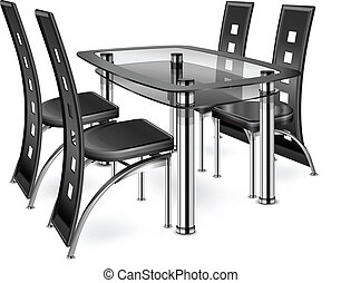 Table & chairs - Modern chairs isolated on white background,...