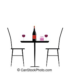 table, chaise, vecteur, illustration, vin