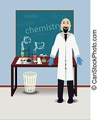 table, chimie, enseignant mâle