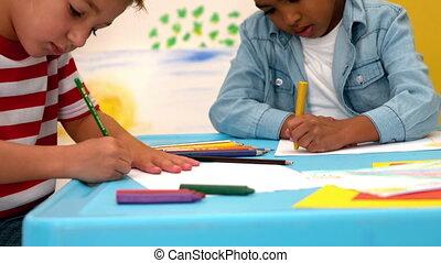 table, classe, dessin, garçons