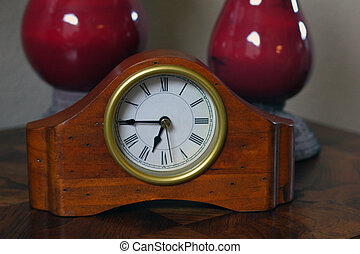 Table Clock and Vases