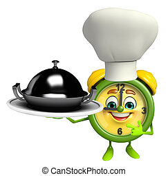 Cartoon Character of table clock with dishpot