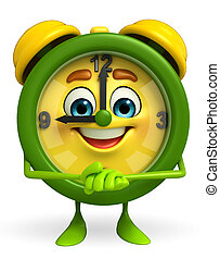 Table clock character with promise pose - Cartoon Character...