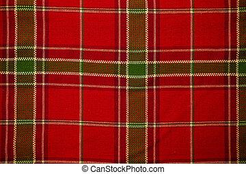 Table cloth - Christmas plaid table cloth as a background.