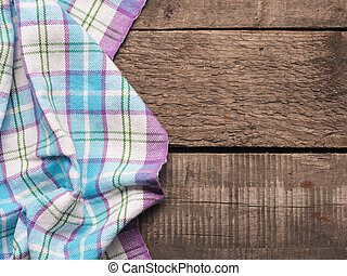 Table cloth on a wooden table