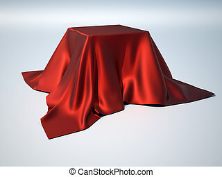 Table cloth - A box covered with a table cloth - 3d render