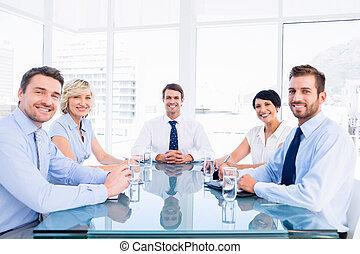 table conférence, cadres, autour de, séance