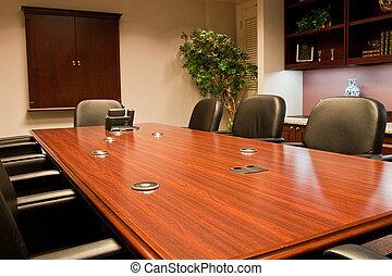 table conférence, coasters, poli, salle
