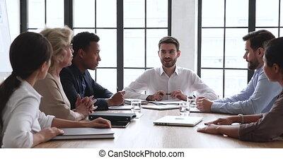 table, conférence, mâle, patron, multiracial,...