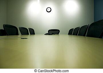 table conférence, ordinateur portable, salle, pda