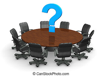 table conférence, point interrogation