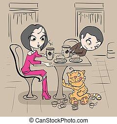 table, couple, café, aimer