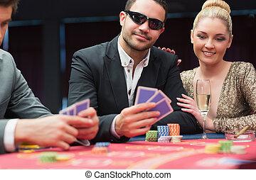 table, couple, poker