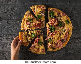 table., coupure, morceau, enfant, main, vue, gauche, bois, pizza, sien, prend, top.