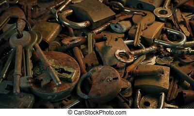 table, couvert, serrures, vieux, dépassement, clés