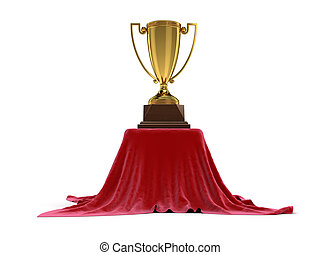 Table covered cloth with Trophy cup