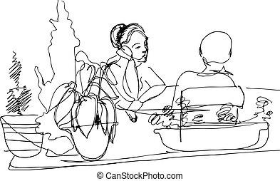 table, croquis, deux femmes