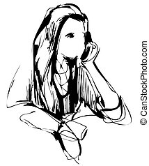 table, croquis, girl