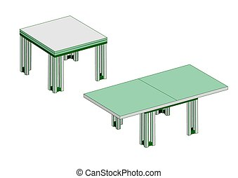 table, cuisine, blanc, vert
